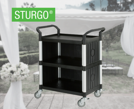 STURGO® 3 Shelf Service Cart with 3 Enclosed Sides