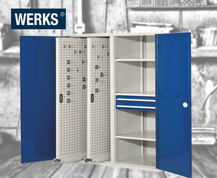 WERKS® Vertical Panel Cabinets - Perforated Panel Doors
