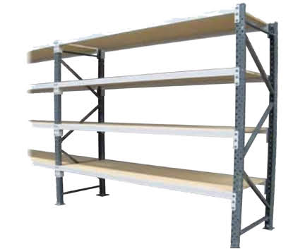 Long Span Shelving With Timber Shelves
